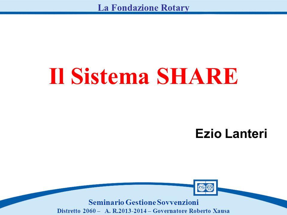 Il Sistema SHARE Ezio Lanteri La Fondazione Rotary
