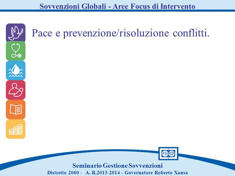 Pace e prevenzione/risoluzione conflitti.