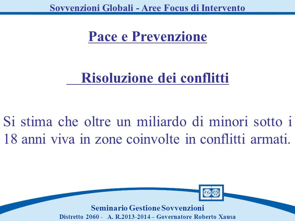 Pace e Prevenzione Risoluzione dei conflitti
