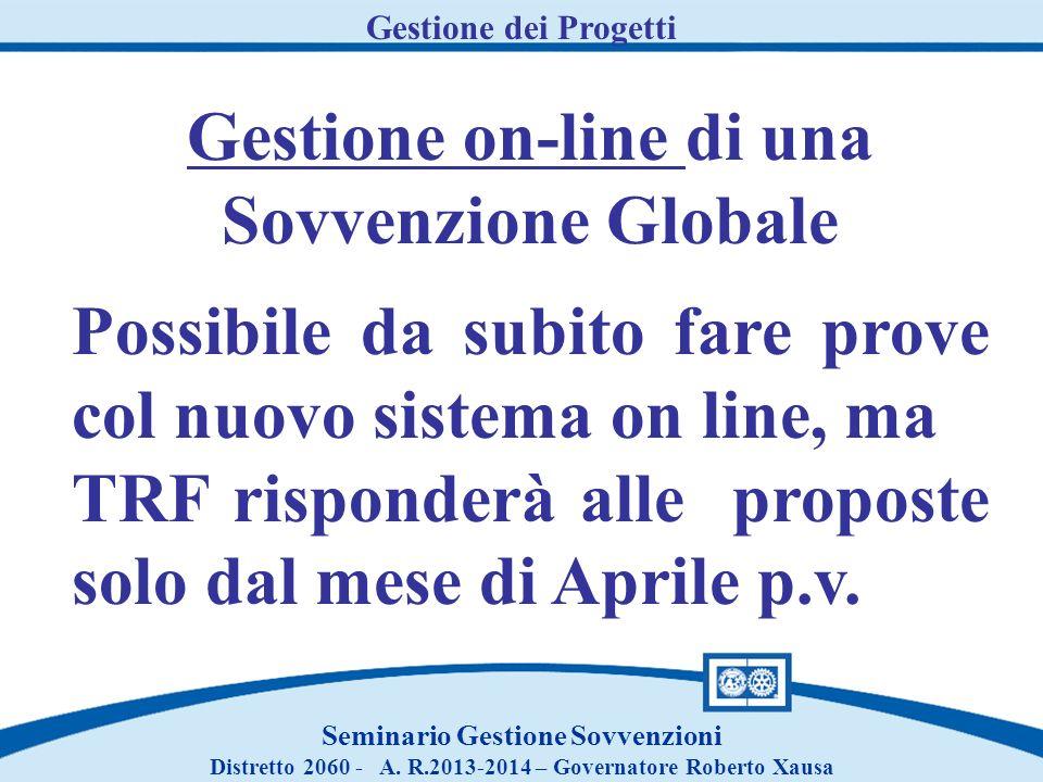 Gestione on-line di una Sovvenzione Globale