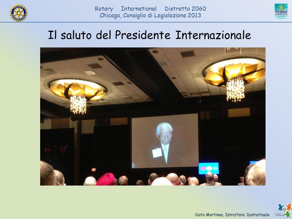 Il saluto del Presidente Internazionale