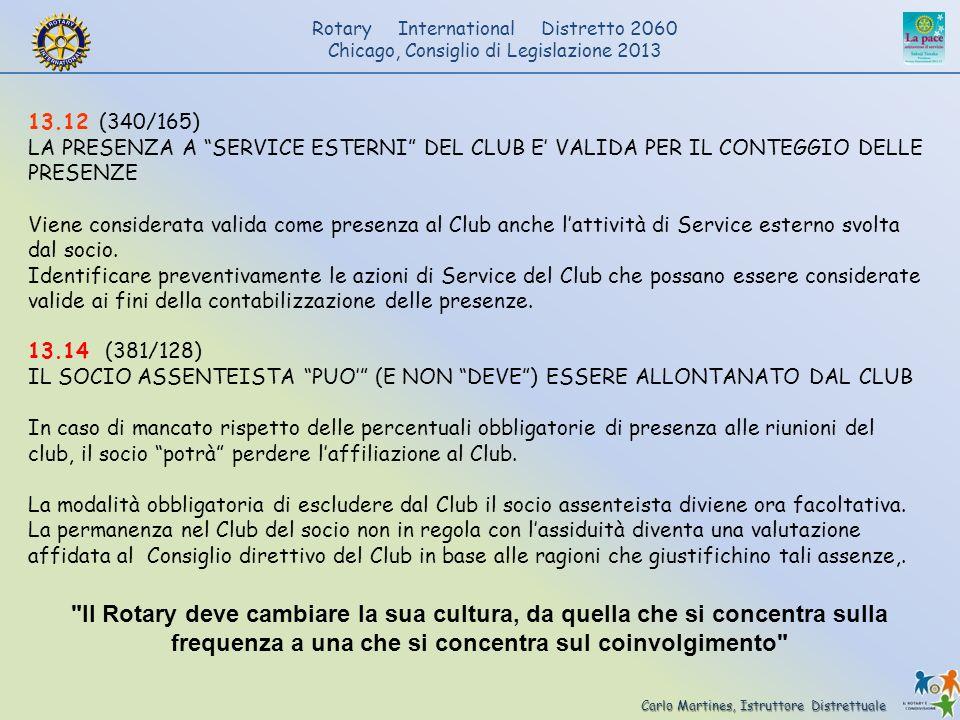 13.12 (340/165) LA PRESENZA A SERVICE ESTERNI DEL CLUB E' VALIDA PER IL CONTEGGIO DELLE PRESENZE.