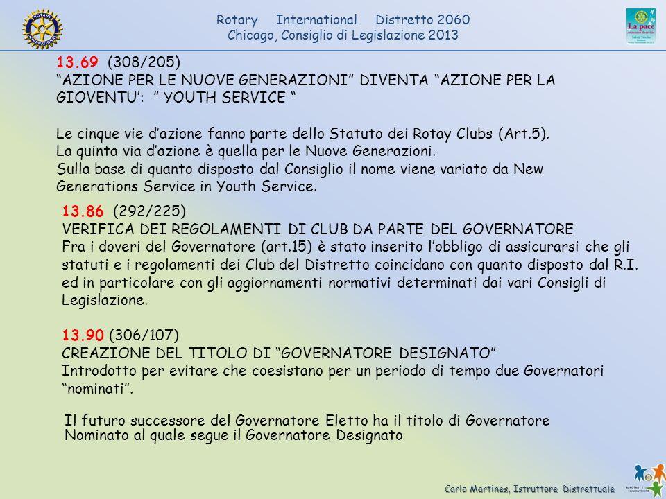 13.69 (308/205) AZIONE PER LE NUOVE GENERAZIONI DIVENTA AZIONE PER LA GIOVENTU': YOUTH SERVICE