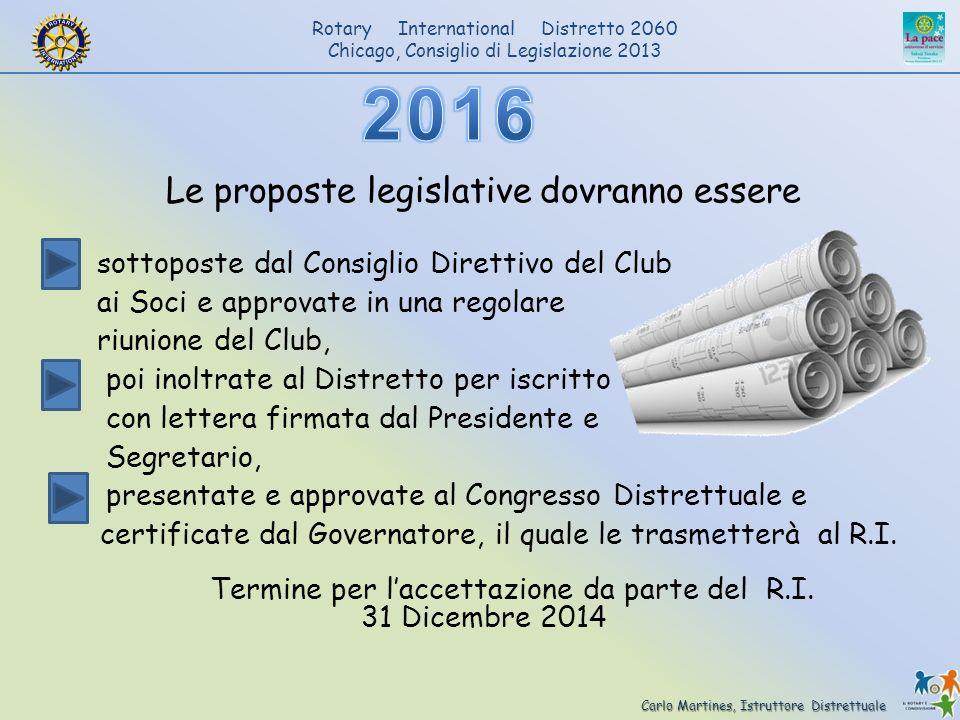 2016 Le proposte legislative dovranno essere