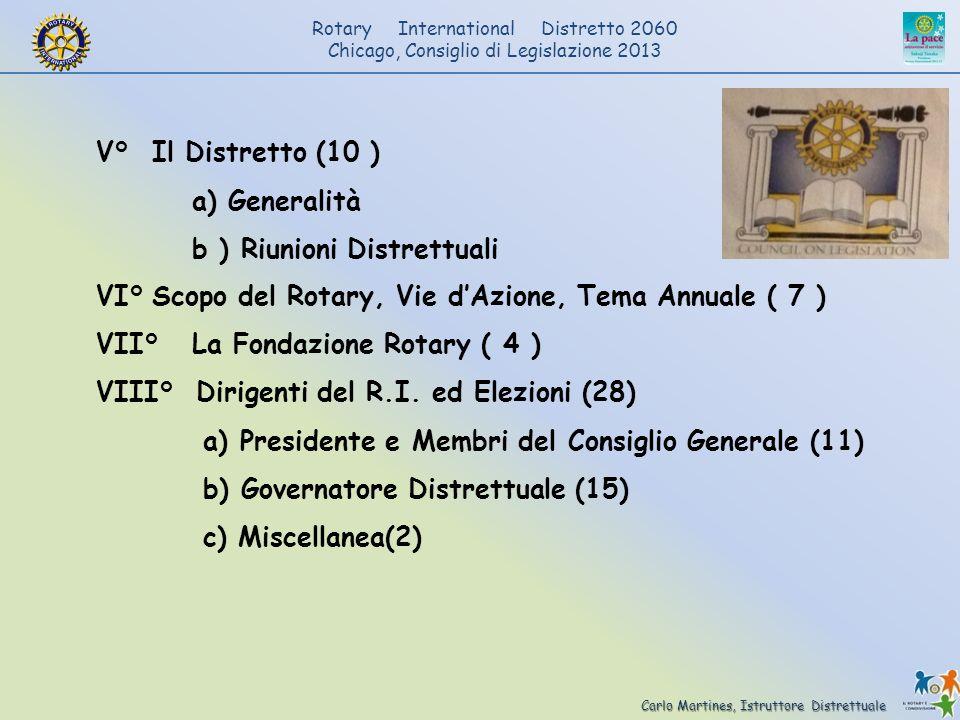 V° Il Distretto (10 ) a) Generalità. b ) Riunioni Distrettuali. VI° Scopo del Rotary, Vie d'Azione, Tema Annuale ( 7 )