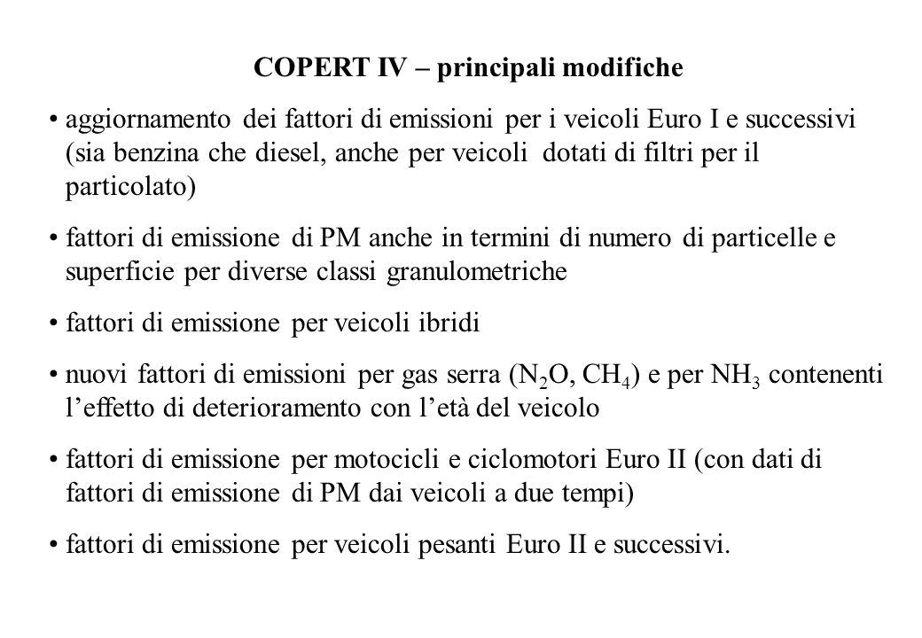 COPERT IV – principali modifiche