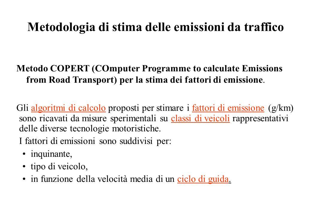 Metodologia di stima delle emissioni da traffico