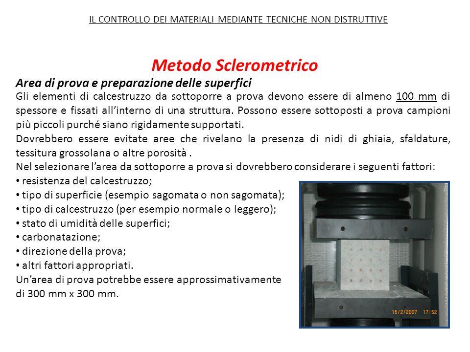 Metodo Sclerometrico Area di prova e preparazione delle superfici