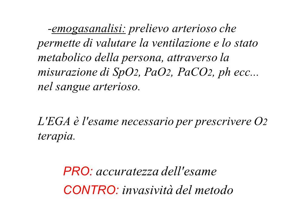 PRO: accuratezza dell esame CONTRO: invasività del metodo
