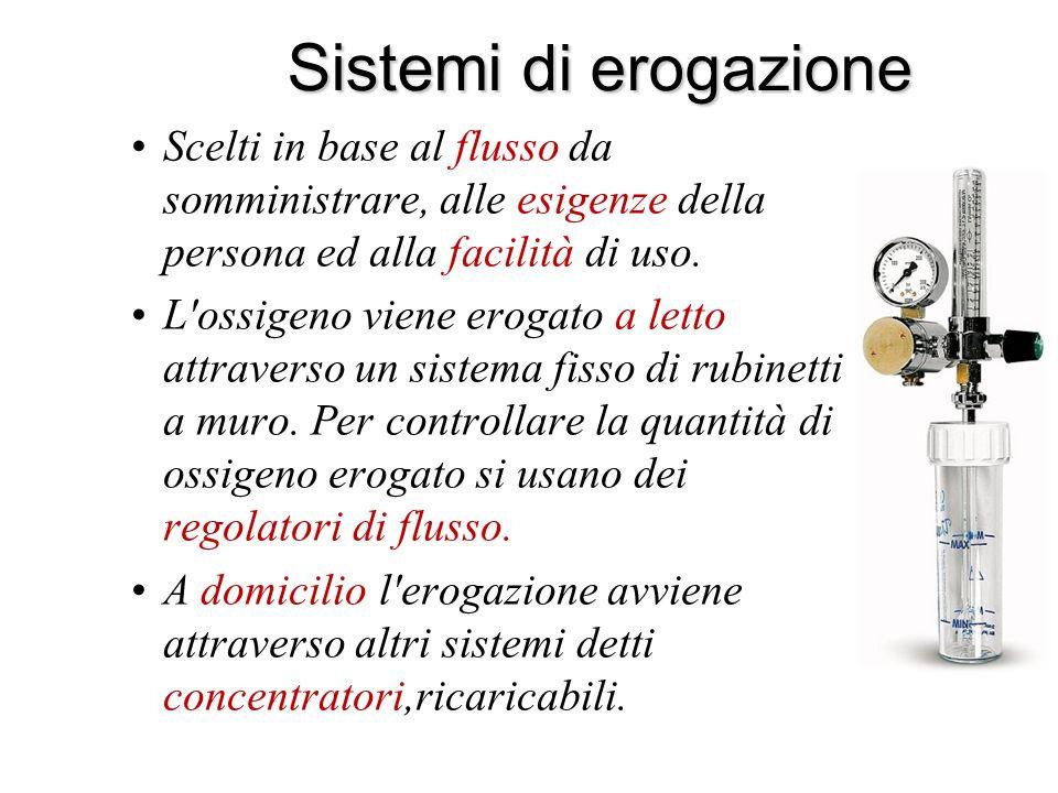 Sistemi di erogazione Scelti in base al flusso da somministrare, alle esigenze della persona ed alla facilità di uso.