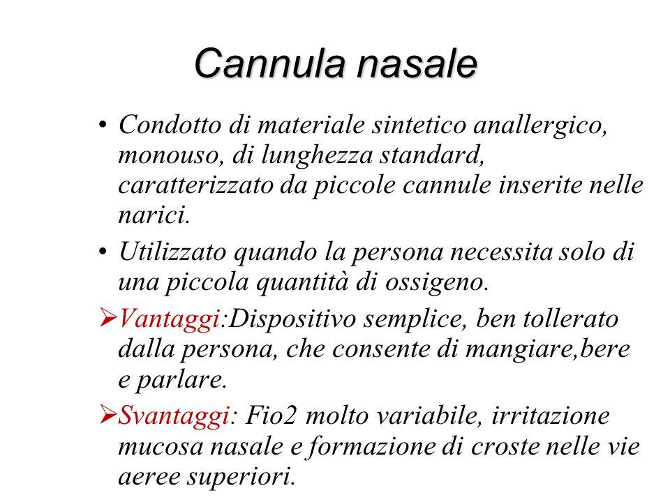 Cannula nasale Condotto di materiale sintetico anallergico, monouso, di lunghezza standard, caratterizzato da piccole cannule inserite nelle narici.