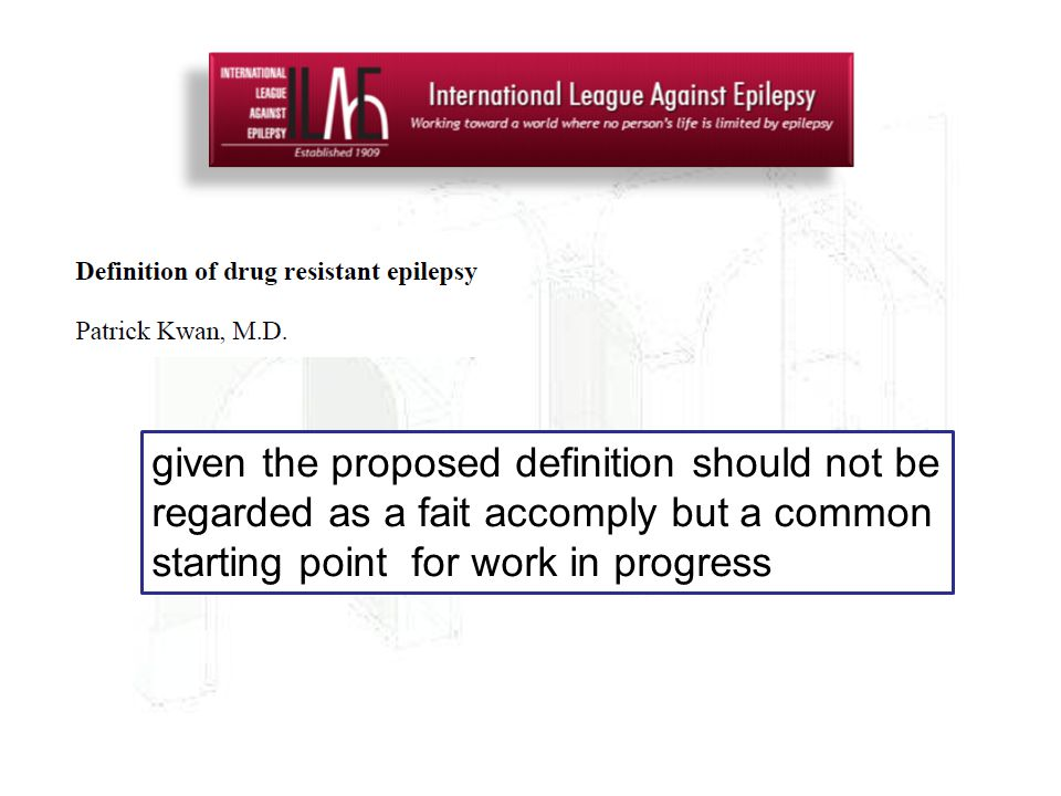 given the proposed definition should not be regarded as a fait accomply but a common starting point for work in progress