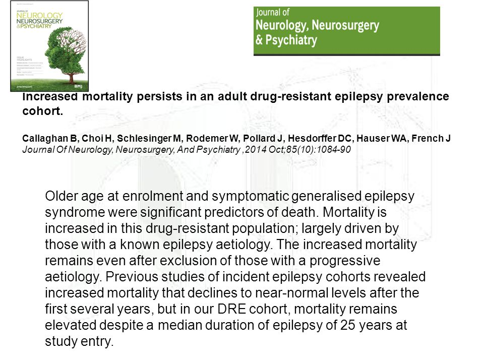 Increased mortality persists in an adult drug-resistant epilepsy prevalence cohort.