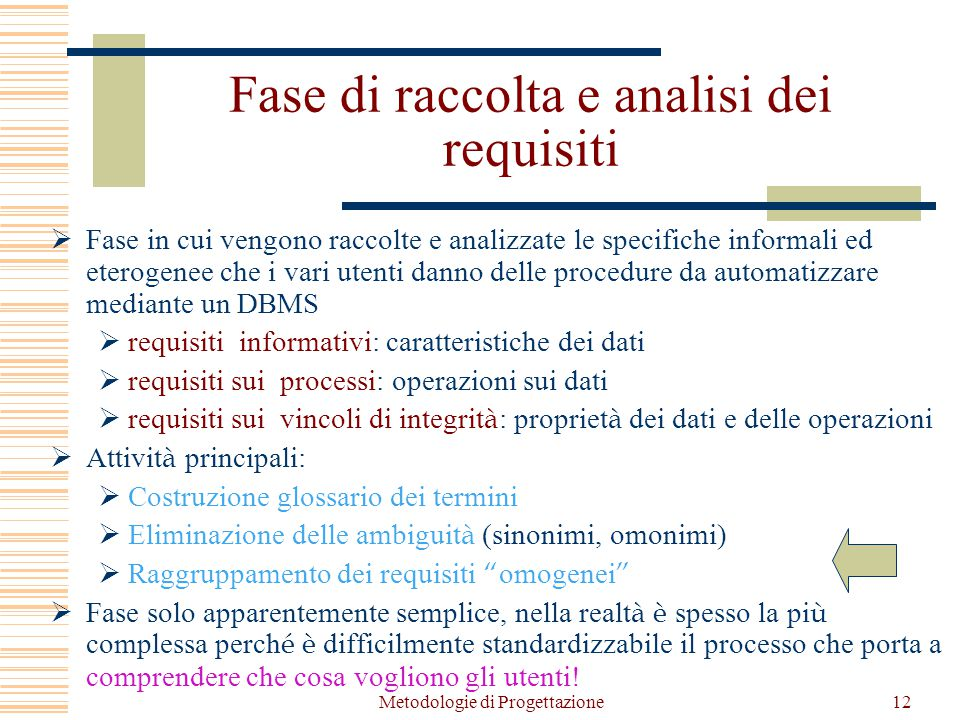 Fase di raccolta e analisi dei requisiti