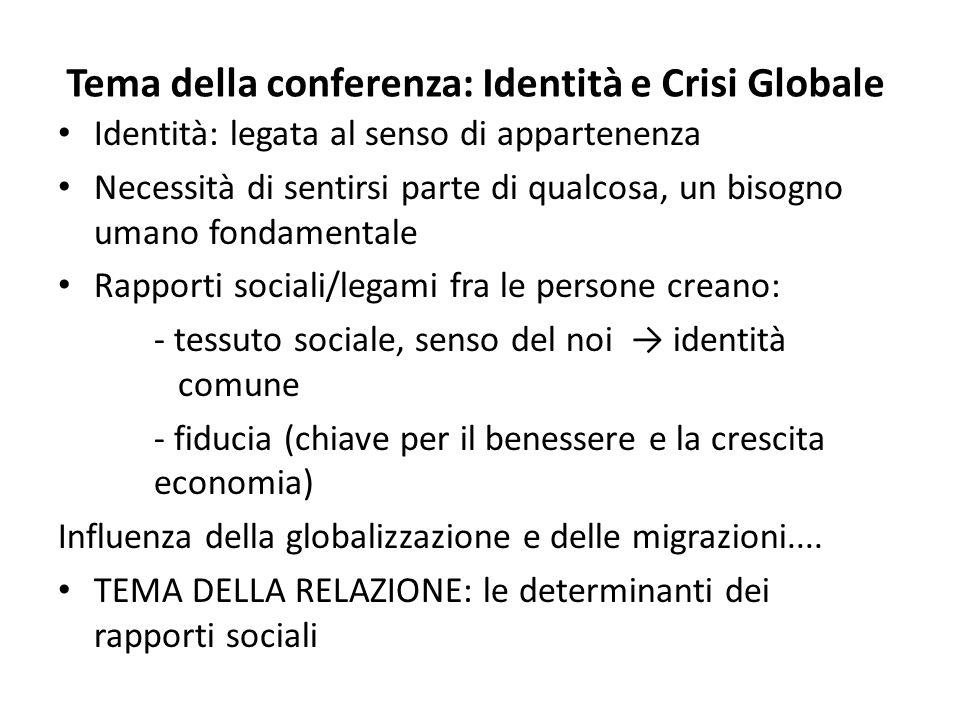 Tema della conferenza: Identità e Crisi Globale
