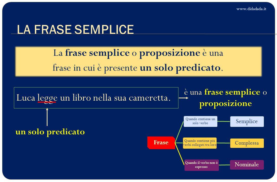 www.didadada.it LA FRASE SEMPLICE. La frase semplice o proposizione è una frase in cui è presente un solo predicato.