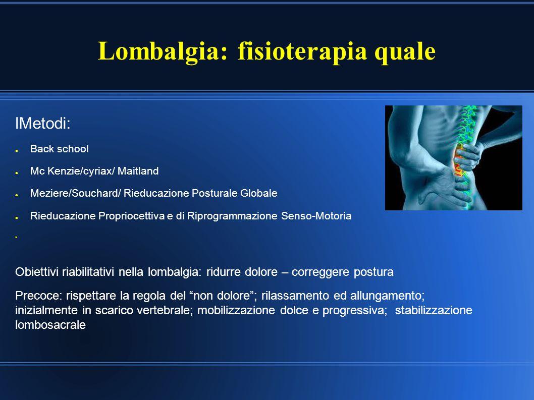 Lombalgia: fisioterapia quale