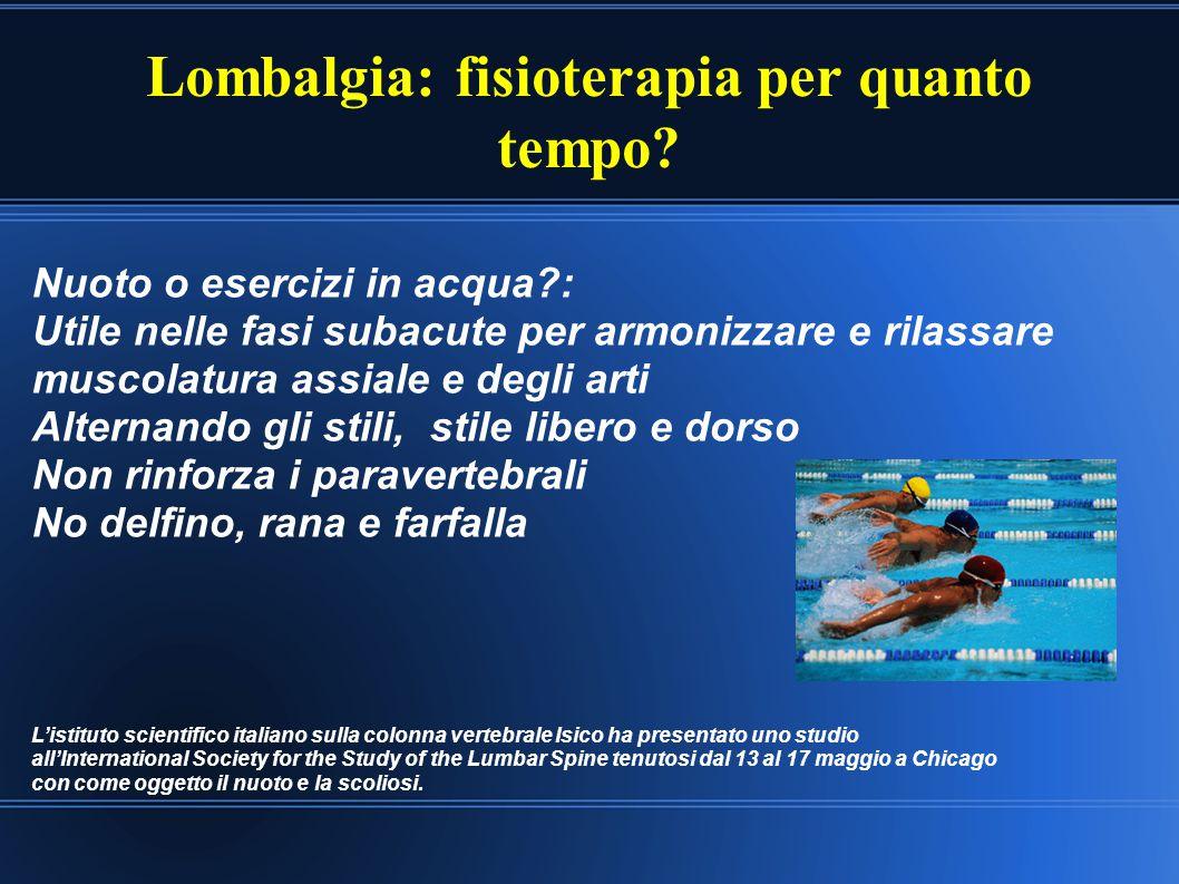 Lombalgia: fisioterapia per quanto tempo