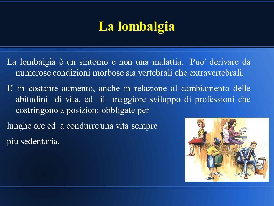 La lombalgia La lombalgia è un sintomo e non una malattia. Puo derivare da numerose condizioni morbose sia vertebrali che extravertebrali.