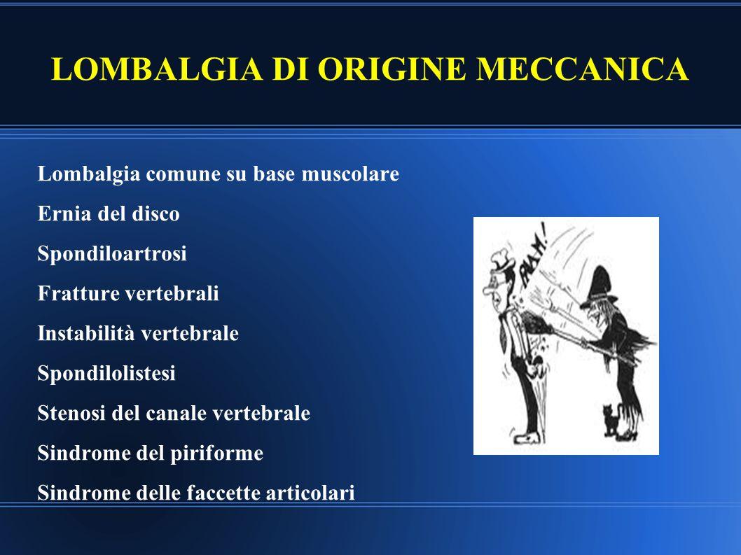 LOMBALGIA DI ORIGINE MECCANICA