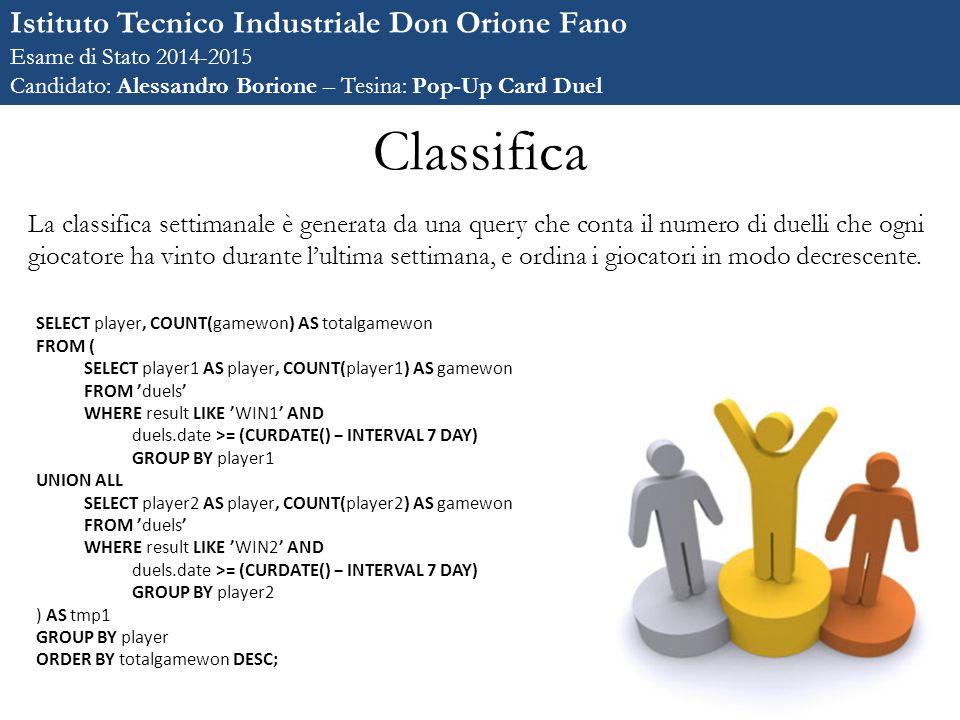 Classifica Istituto Tecnico Industriale Don Orione Fano