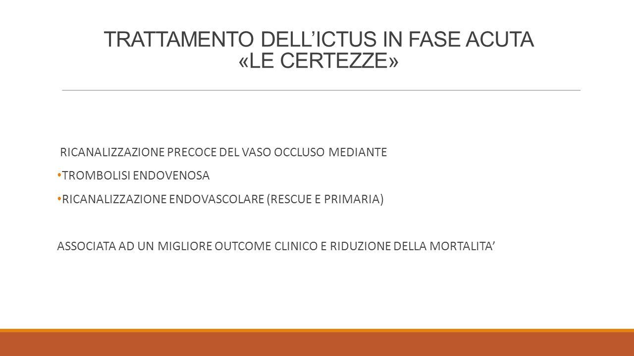 TRATTAMENTO DELL'ICTUS IN FASE ACUTA «LE CERTEZZE»