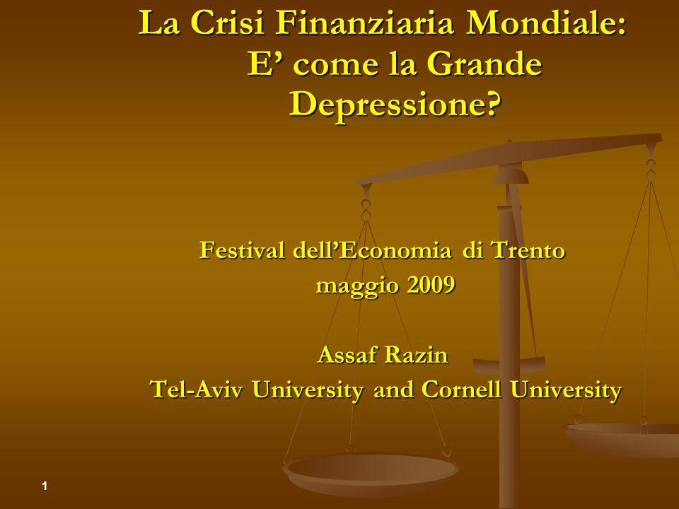 La Crisi Finanziaria Mondiale: E' come la Grande Depressione