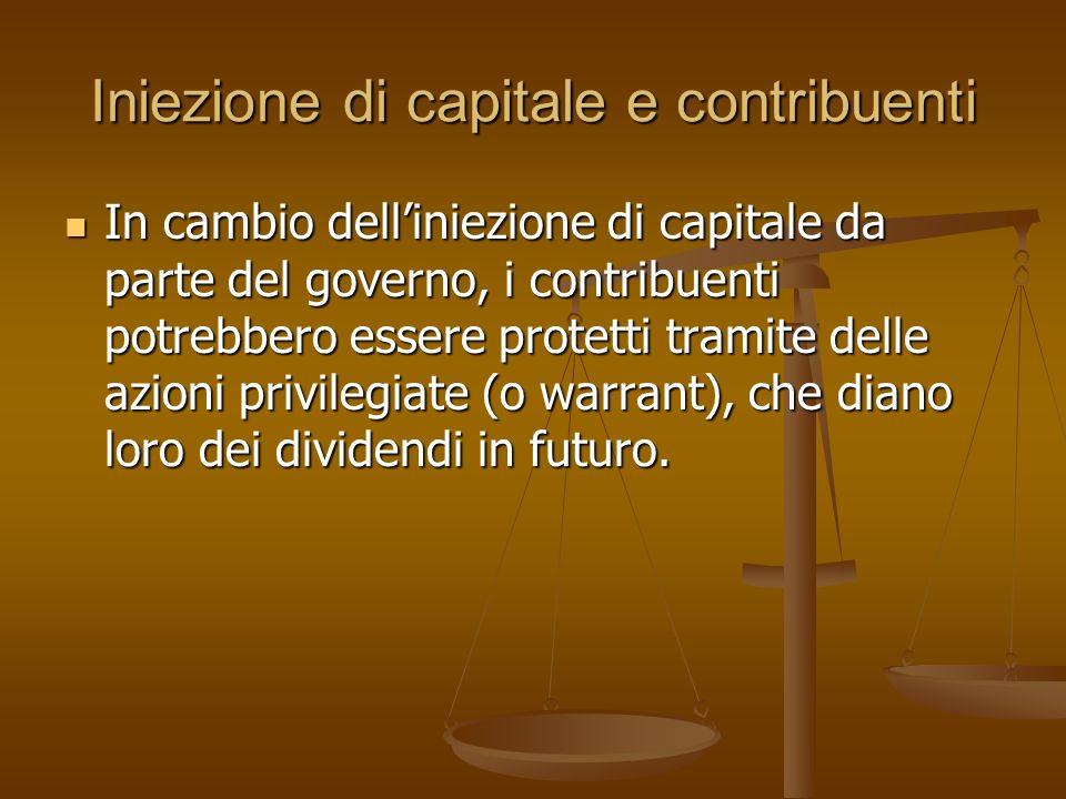 Iniezione di capitale e contribuenti