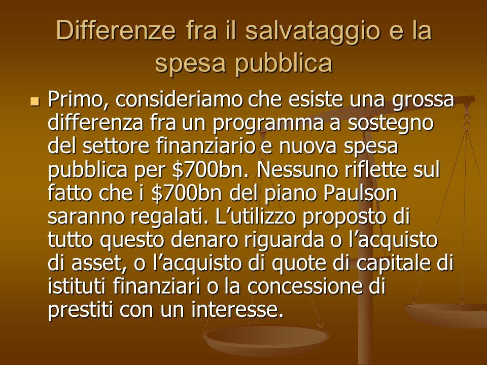 Differenze fra il salvataggio e la spesa pubblica