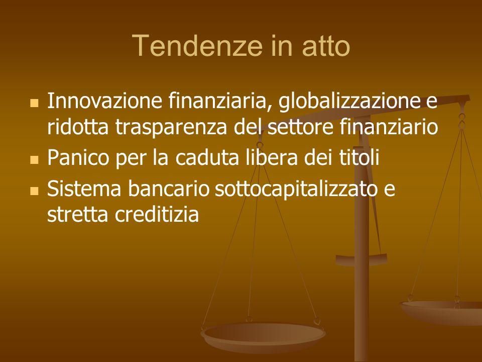 Tendenze in atto Innovazione finanziaria, globalizzazione e ridotta trasparenza del settore finanziario.