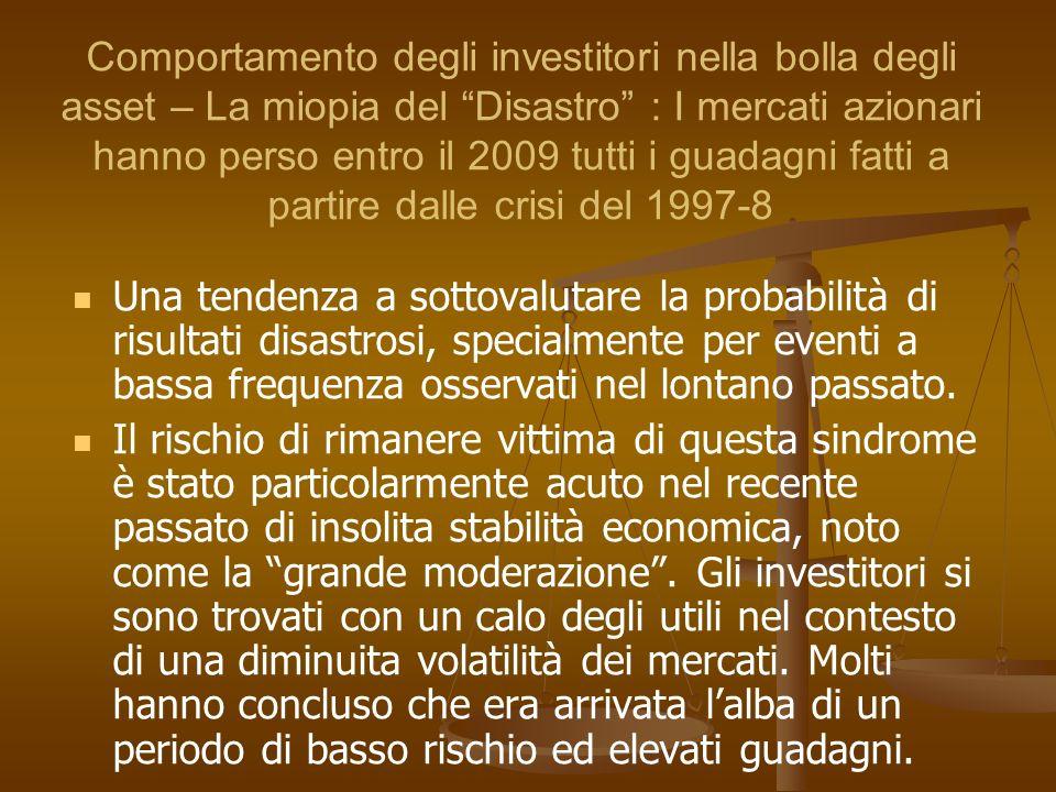 Comportamento degli investitori nella bolla degli asset – La miopia del Disastro : I mercati azionari hanno perso entro il 2009 tutti i guadagni fatti a partire dalle crisi del 1997-8