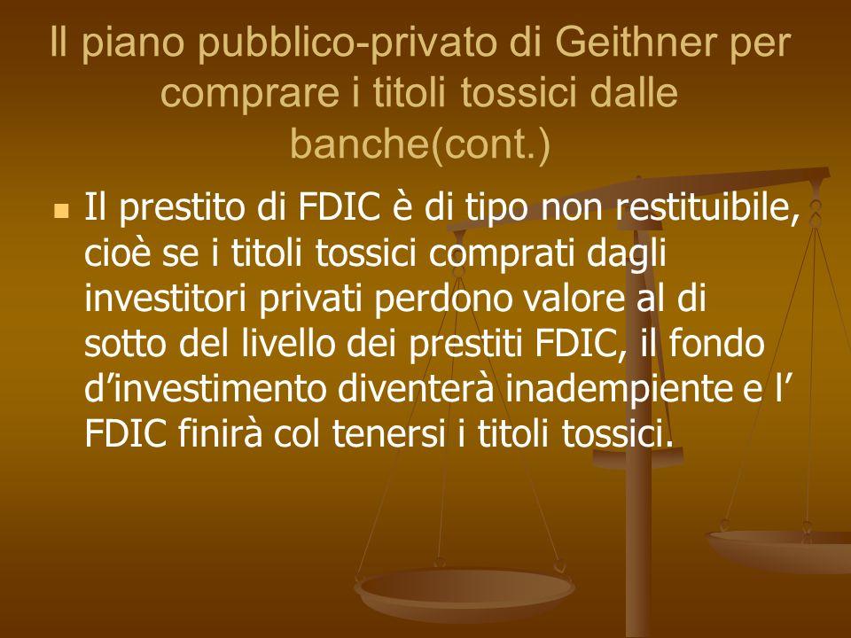 Il piano pubblico-privato di Geithner per comprare i titoli tossici dalle banche(cont.)