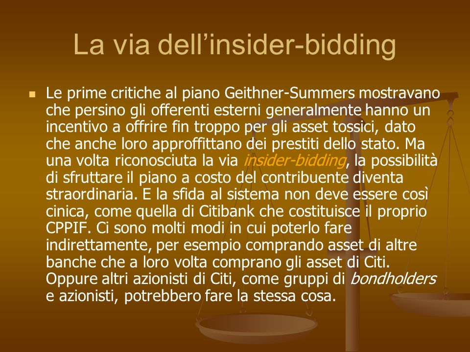 La via dell'insider-bidding