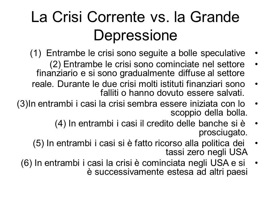 La Crisi Corrente vs. la Grande Depressione
