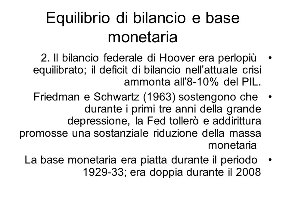 Equilibrio di bilancio e base monetaria