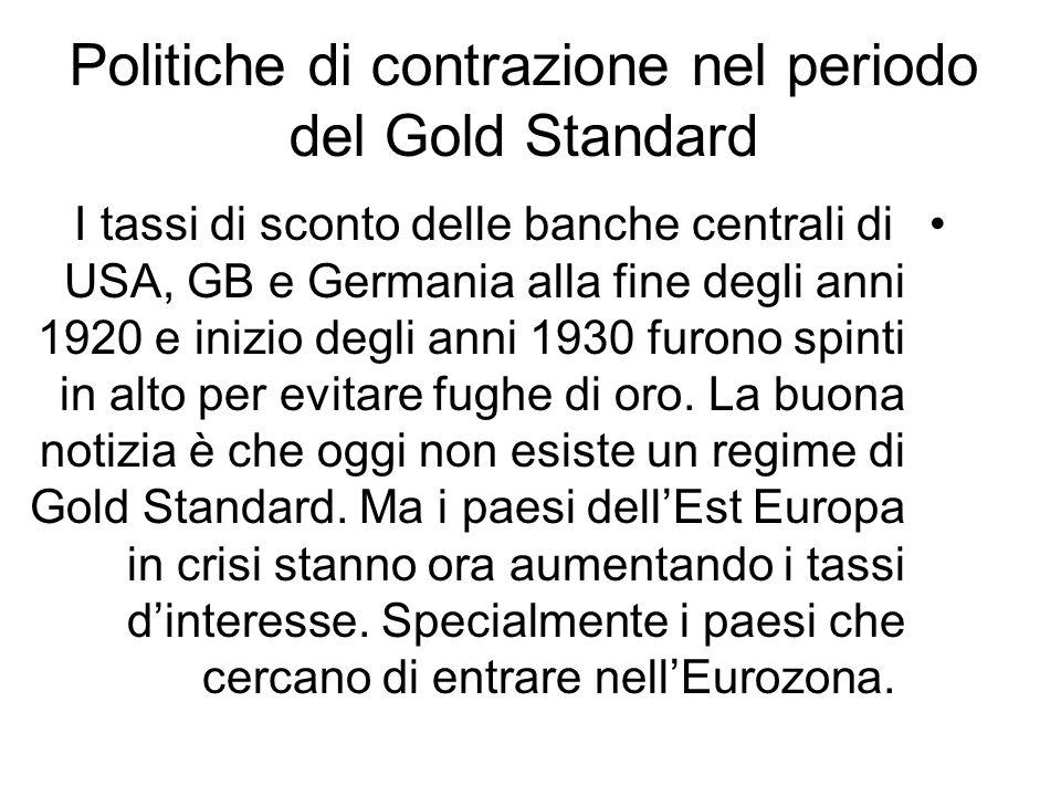 Politiche di contrazione nel periodo del Gold Standard