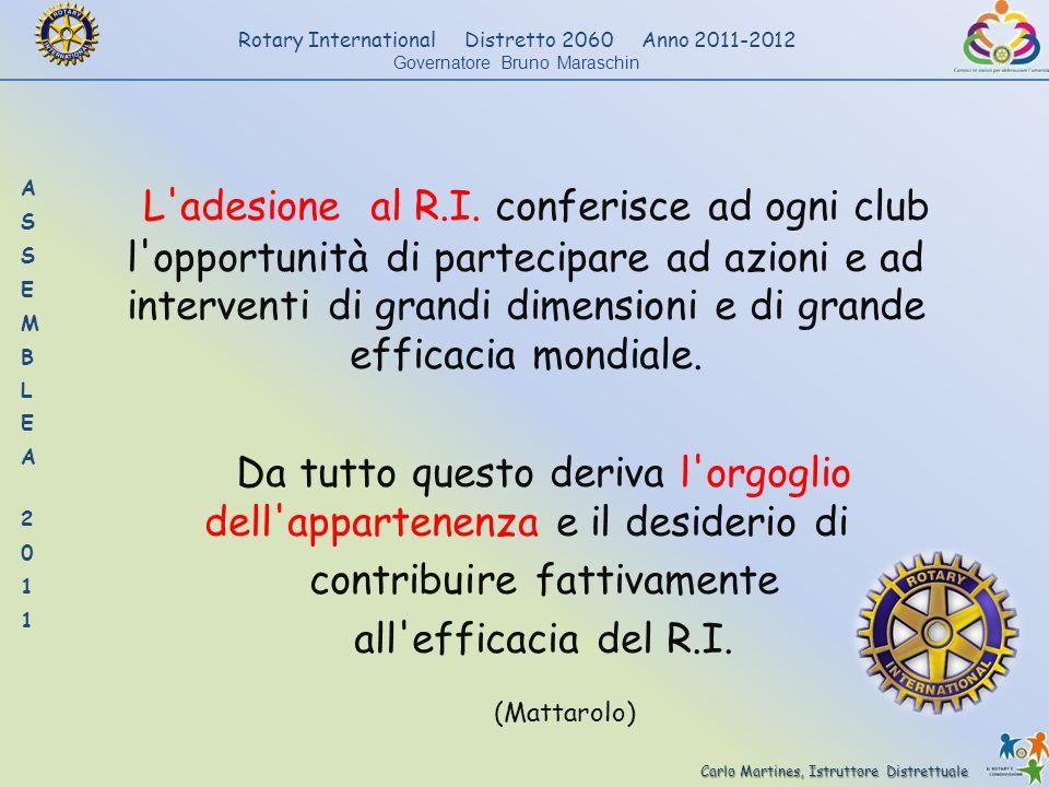 L adesione al R.I. conferisce ad ogni club l opportunità di partecipare ad azioni e ad interventi di grandi dimensioni e di grande efficacia mondiale.
