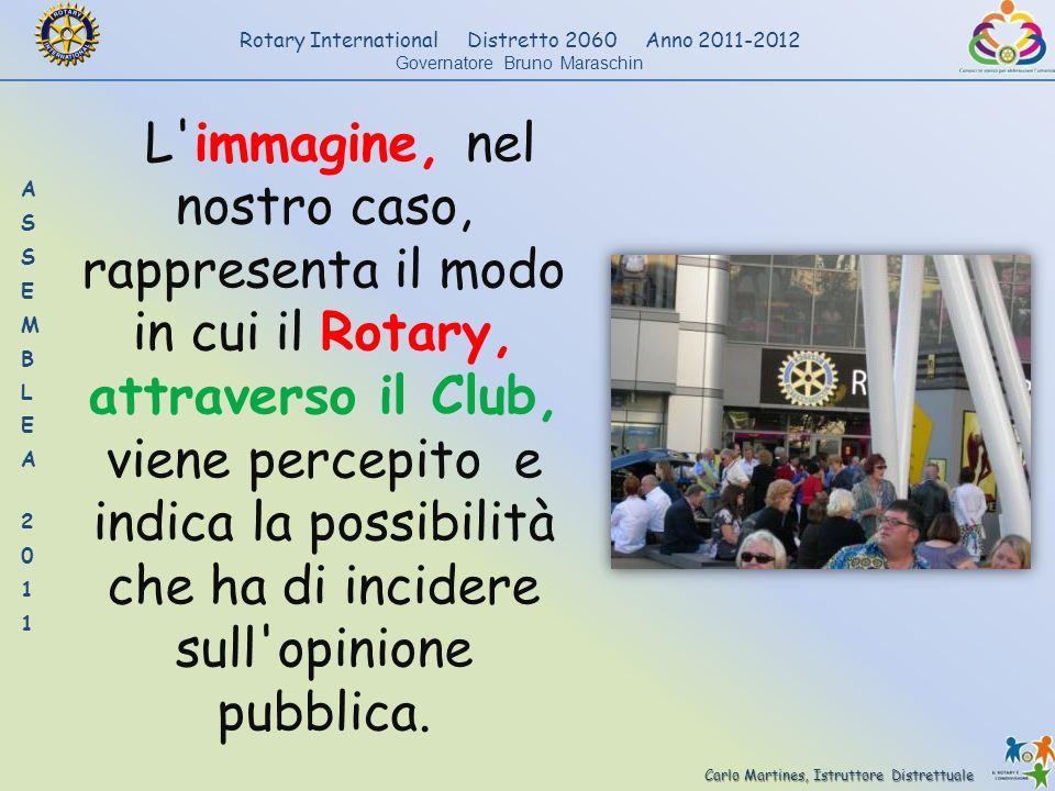 L immagine, nel nostro caso, rappresenta il modo in cui il Rotary, attraverso il Club, viene percepito e indica la possibilità che ha di incidere sull opinione pubblica.