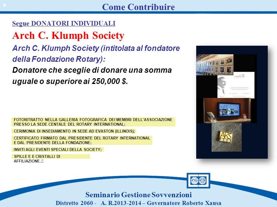Come Contribuire Arch C. Klumph Society