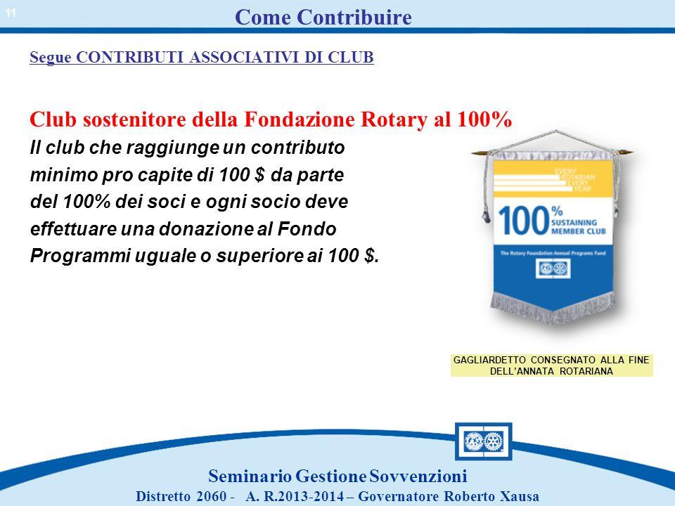 Come Contribuire Club sostenitore della Fondazione Rotary al 100%