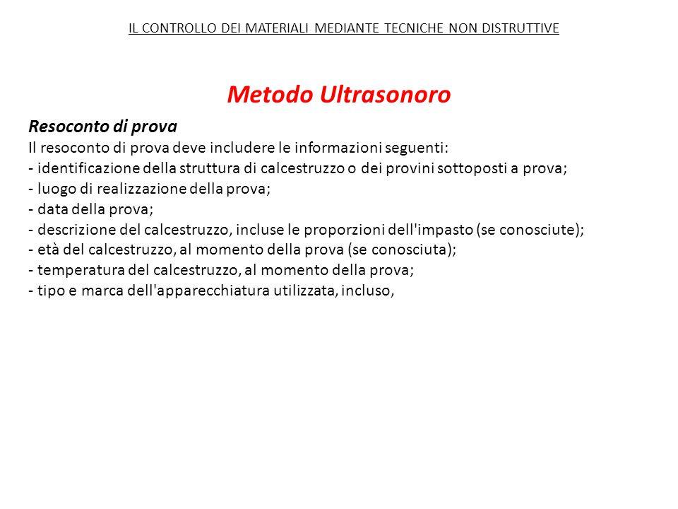 Metodo Ultrasonoro Resoconto di prova