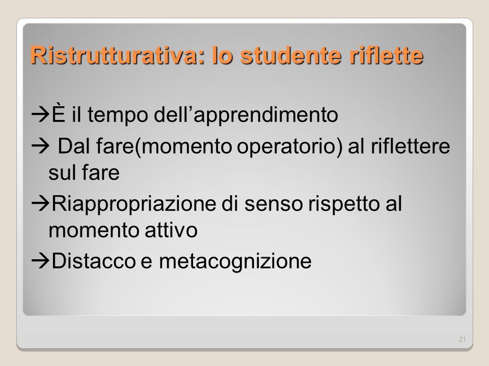Ristrutturativa: lo studente riflette