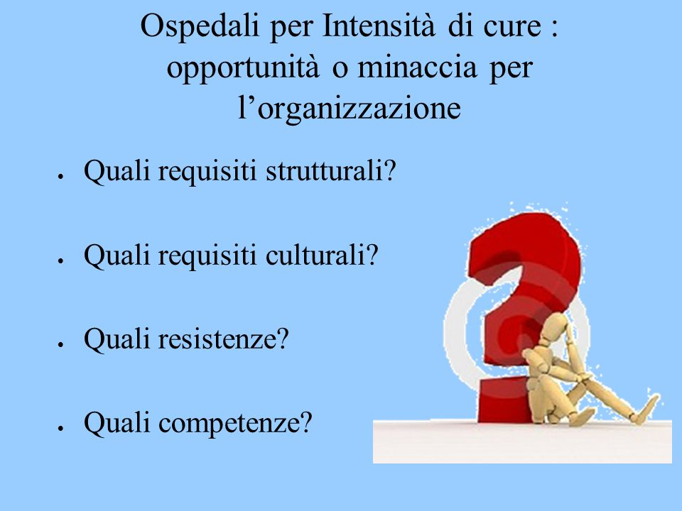 Ospedali per Intensità di cure : opportunità o minaccia per l'organizzazione
