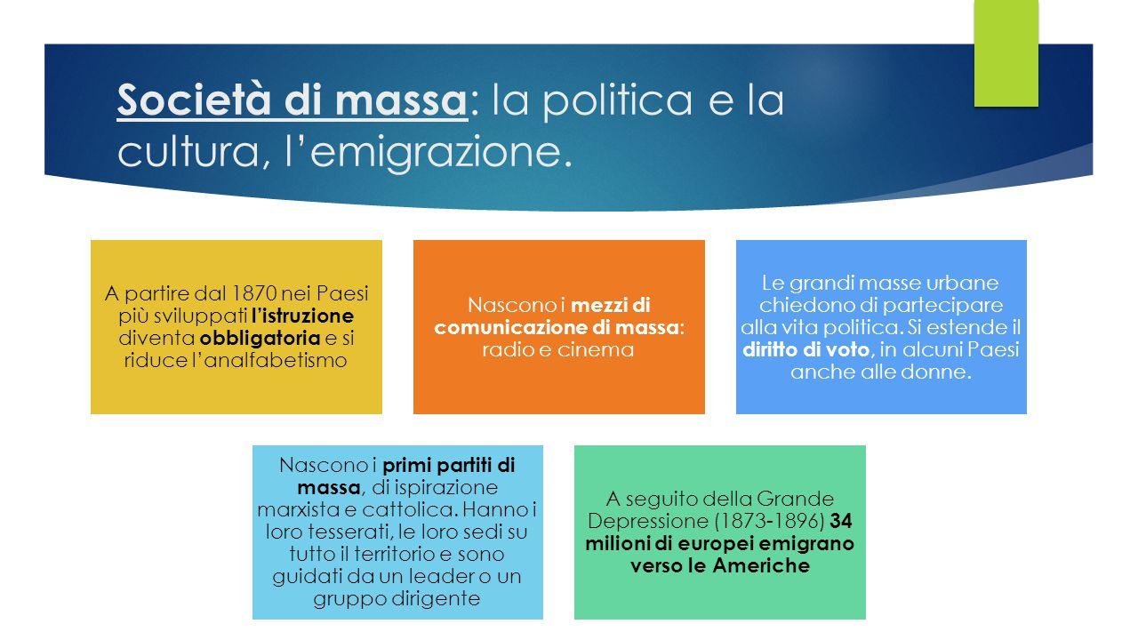 Società di massa: la politica e la cultura, l'emigrazione.