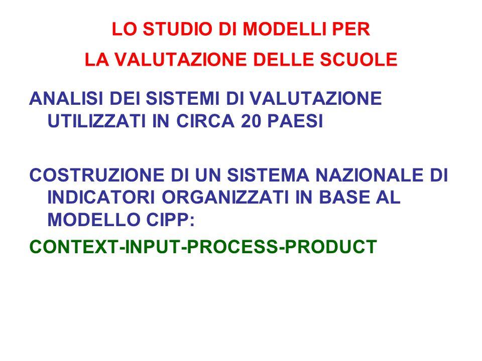 LO STUDIO DI MODELLI PER LA VALUTAZIONE DELLE SCUOLE