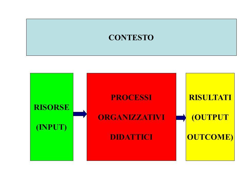 CONTESTO RISORSE (INPUT) PROCESSI ORGANIZZATIVI DIDATTICI RISULTATI (OUTPUT OUTCOME)