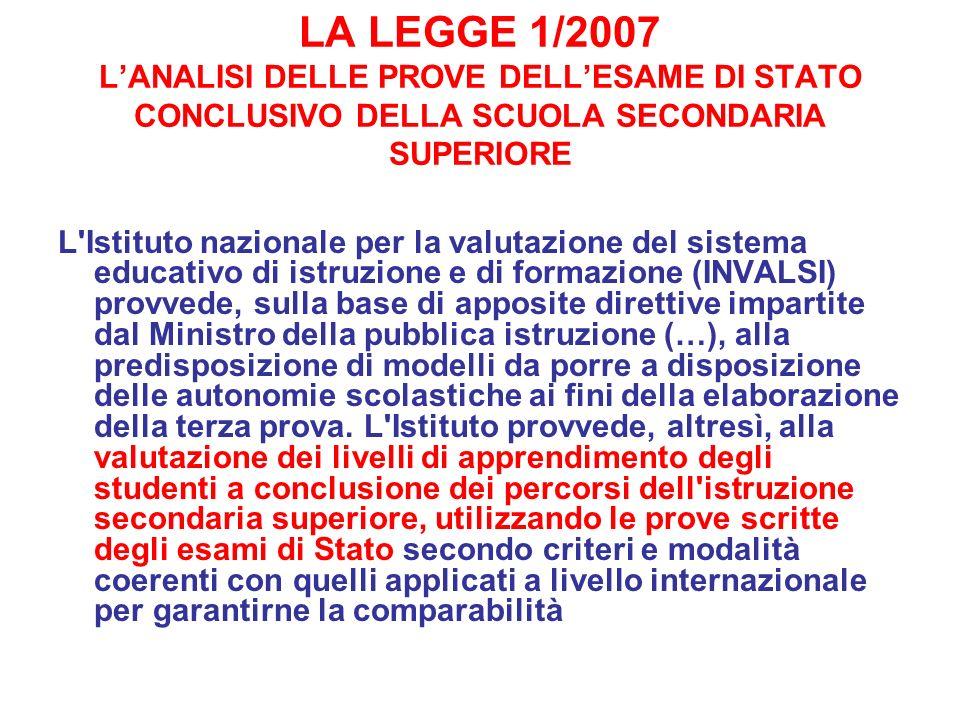 LA LEGGE 1/2007 L'ANALISI DELLE PROVE DELL'ESAME DI STATO CONCLUSIVO DELLA SCUOLA SECONDARIA SUPERIORE