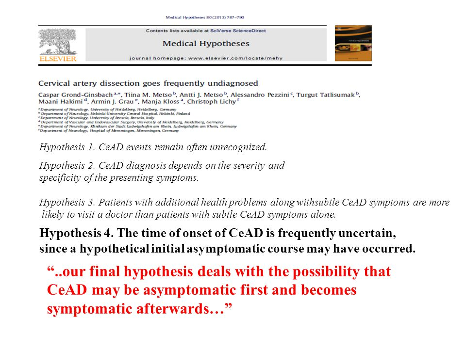 Hypothesis 1. CeAD events remain often unrecognized.