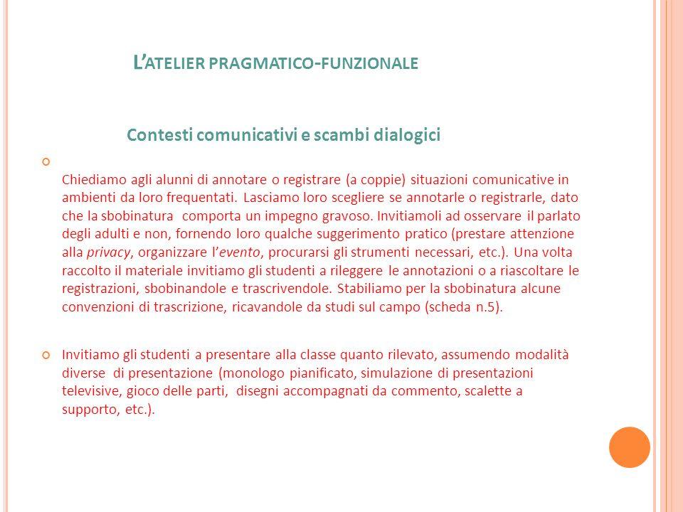 L'atelier pragmatico-funzionale