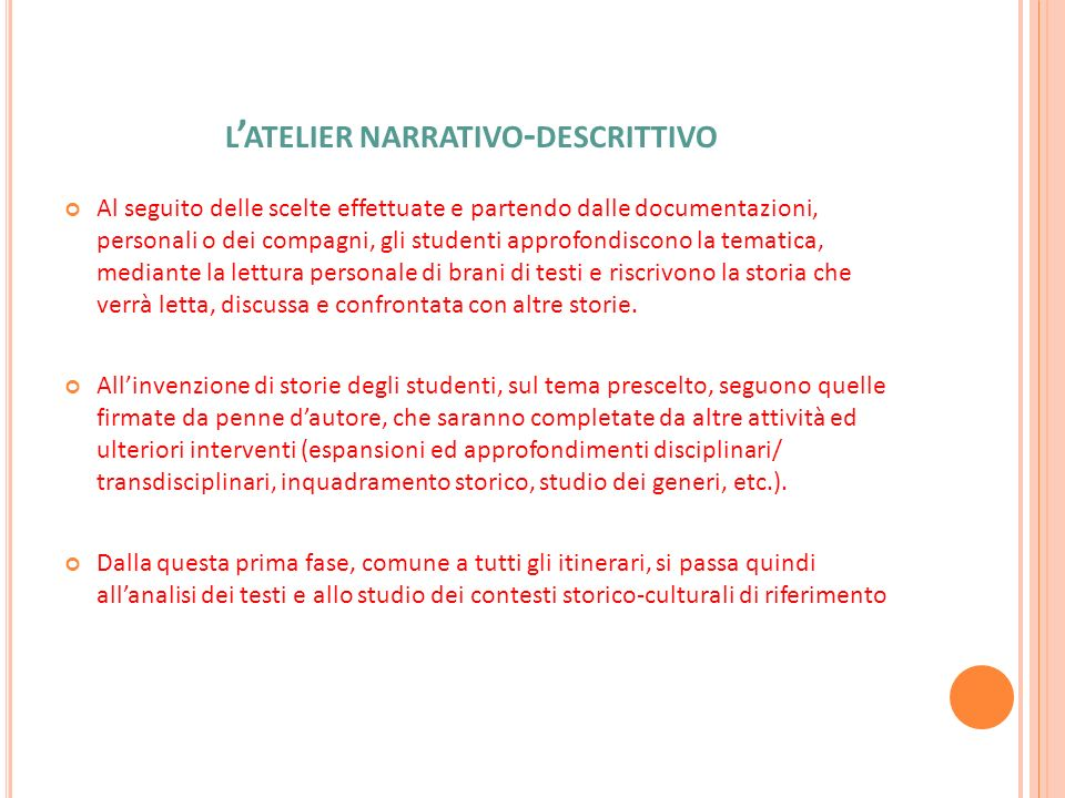 l'atelier narrativo-descrittivo